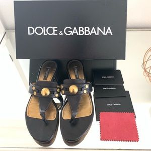 💯Dolce & Gabbana Black Leather Sandals
